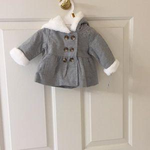 Carter's newborn girl jacket, hooded fur trim NWT